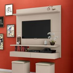 Bedroom Tv Unit Design, Living Room Tv Unit Designs, Tv Wall Design, Tv In Bedroom, Home Theater Design, Home Office Design, Small Living Rooms, Living Room Decor, Simple Tv Unit Design