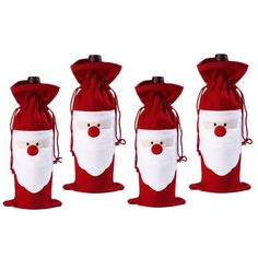 4 PCS Christmas Santa Claus Wine Bottle Cover Bags Home Party Decoration