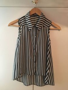 Only 99p!!! Girls Black/White Striped Blouse - Age 10/11