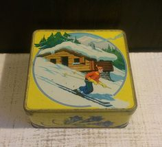 Rare Vintage Biscuits Brun French Tin Box c 1930 Downhill Skier Chalet Yellow #BiscuitsBrun