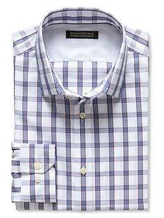 Tailored Slim-Fit Non-Iron Windowpane Plaid Shirt