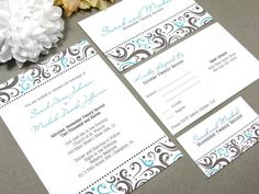 Elegant Dot Swirl Wedding Invitation Set by RunkPock Designs : Custom Modern Script Calligraphy Suite shown in Teal and Chocolate Brown