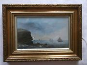 FRAMED OIL ON BOARD PAINTING 19th CENTURY A STUDY OF BOATS GOING OUT TO SEA