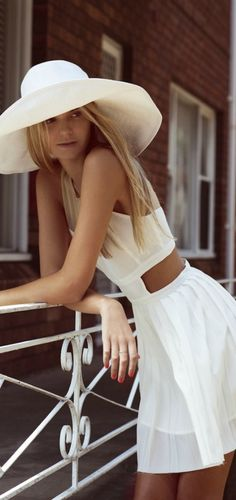 I want you like last summer... cute cut out white dress and hat... wear with straight middle part hair out