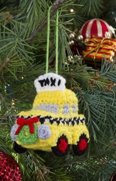 NYC Cab Ornament Free Crochet Pattern from Red Heart Yarns