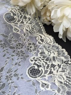 Metallic blue and off-white stretch mesh lace trim by the yard | Etsy Lace Trim Shorts, Metallic Blue, Free Samples, 100 Yards, Stretches, Off White, Mesh, Color, Beautiful