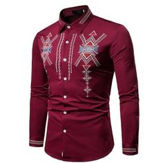 New fashion african clothes printed African Dresses Men, African Attire For Men, African Shirts, African Clothes, African Men, African Style, Ethnic Fashion, New Fashion, Red Shirt Dress