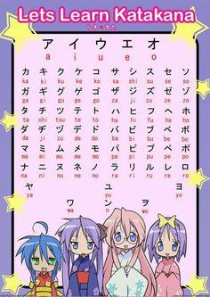 Let's Learn Katakana, text, Lucky Star, Konata, Tsukasa, Miyuki, Kagami; Japanese