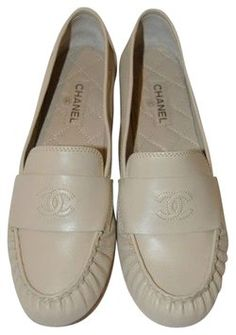 Chanel Beige CC Leather Loafers over 50% OFF