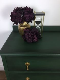 Dark Green, Black And Gold Chest Of Drawers Green Painted Furniture, Gold Furniture, Painted Chairs, Funky Furniture, Furniture Makeover, Refurbished Furniture, Plywood Furniture, Repurposed Furniture, Furniture Projects