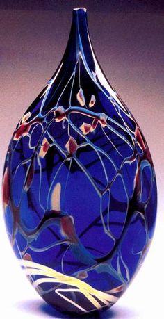Cobalt Blue Silver Leaf Pottery & Glass New Fashion Douglas & Renee Sigwarth Signed Studio Art Glass Vase