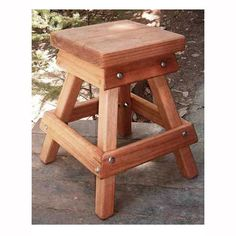 Redwood Square Backless Outdoor Bar Stool