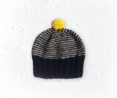 Knit handmade hat with black  and natural white wool by DURIDO