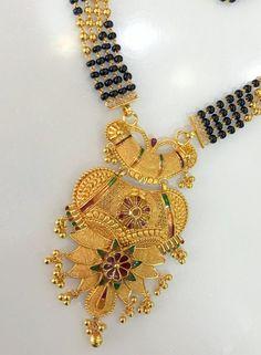 22 k Gold Choker Necklace fine handmade jewelry Mangalsutra wedding necklace
