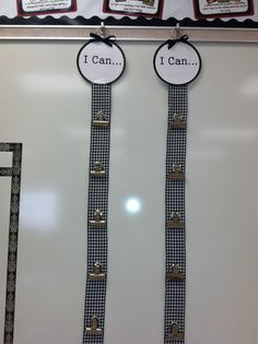 "I saw a pin where the teacher used ribbon to create her word wall bulletin board. I loved the idea, so I used it for my ""I Cans"" and my ""Who's Next?""."