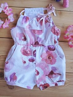 Items similar to baby print jumpsuit baby jumpsuit toddler jumpsuit girls jumpsuit cotton printed clothing flowers print on etsy Baby Dress Design, Baby Girl Dress Patterns, Little Girl Dresses, Baby Clothes Patterns, Toddler Jumpsuit, Baby Jumpsuit, Toddler Skirt, Baby Girl Fashion, Kids Fashion