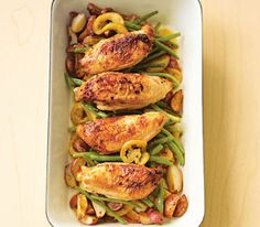 Pan-Roasted Chicken With Lemon-Garlic Green Beans. Use boneless & reduce cook time by 10 mins. Can omit lemon slices