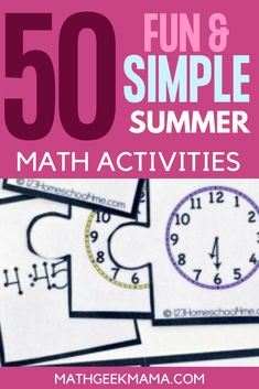 Want to keep math alive and fun over the summer? Try these 50+ Fun and Simple Summer Math Activities! #math #summermath #homeschool #mathteachingtips Easy Math Games, Fun Math Activities, Free Math Worksheets, Printable Math Worksheets, Educational Activities For Kids, Free Printables, Third Grade Math, Grade 1, Classroom Resources