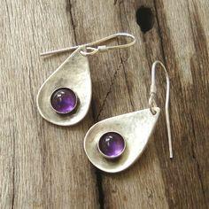 Hammered Teardrop Dangle Earrings Amethyst cabochons sterling silver. $48.00, via Etsy.
