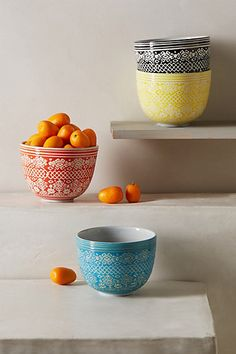 Etched Bowl from Anthropologie. Lovely bright colours and pretty pattern