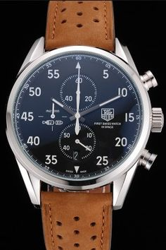 Tag Heuer Carrera SpaceX Silver Bezel with Black Dial and Light Brown Leather Strap tag265 621536