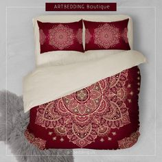 Mandala bedding, Red and gold Mandala duvet cover set, Henna Mehendy mandala duvet bedding set, artbedding decor, bohemian style bedroom, bohemian bedding Stunning raspberry and burgundy red vintage design with a royal look. Red color goes great with gold that is not only the top trend for 2017, but always stands out. I selected delicate handdrawn lace Indie Lotus mandala as a main element that would give the desired Ethno Bohemian look with a bit of spiritual feel to it.