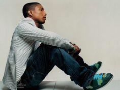 Pharrell Williams... He's all cheekbones and smooth skin.