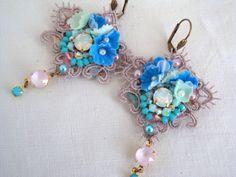 Vintage earrings Earrings blue sweetness par lesbijouxderose