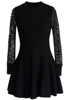 Black Flare Knitted Dress - Retro, Indie and Unique Fashion