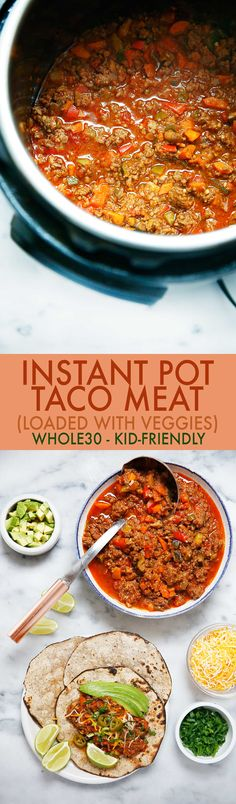 Want to make the BEST taco meat ever? This Instant Pot taco meat recipe is loaded with hidden veggies and is made in the Instant Pot pressure cooker! #instantpot #tacomeat #whole30 #tacos