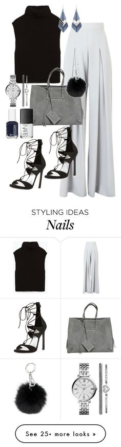 """Sans titre #2598"" by christina95styles on Polyvore featuring Zara, AQ/AQ, Balenciaga, Stuart Weitzman, MICHAEL Michael Kors, Alexis Bittar, NARS Cosmetics, Essie and FOSSIL"