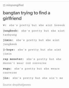 OMG SUGA WOULD LOVE ME ALL I WEAR IS CONVERSEEEEE!!! And that is mixed up bc Jungkook should say Jimin and Jimin should say suga