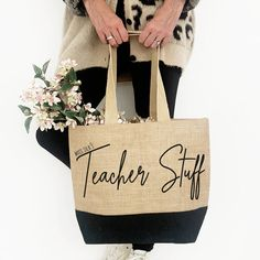 Carry your groceries, work stuff or gym kit in this stylish bag by A Piece Of Ltd Personalise with Mrs or Miss The font comes in black only Laminated Jute bag with contrast black base and long flat cotton webbing handles. Jute Tote Bags, Reusable Tote Bags, Personalised Jute Bags, Jute Shopping Bags, Unique Gifts, Contrast, Base, Gym, Cotton