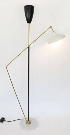 French Floor Lamp with Black and White Shades with Pivoting Brass Arm image 2