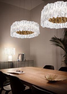 Refined Accordeon Suspension Lamp - Italian Designer & Luxury Lighting at Cassoni Italian Lighting, Luxury Lighting, Techno, Luxury Italian Furniture, Hand Molding, Elle Decor, Modern Interior, Contemporary Design, Gold