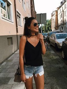 Dark top Shorts Hairstyle Sunglasses Accessories