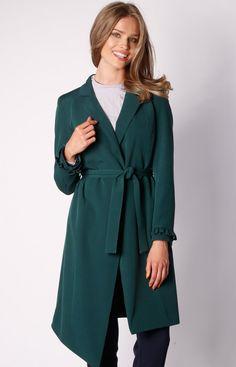 Nommo Wiązany asymetryczny płaszcz zielony NA035LP Fashion, Dress, Moda, Fashion Styles, Fashion Illustrations