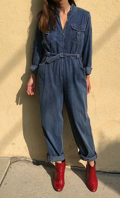 c8f5d1573959 Vintage zip up soft denim jeans coveralls long sleeves utility workwear  flightsuit mechanic jumpsuit boiler suit