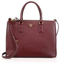 Prada Saffiano Lux Medium Double-Zip Leather Satchel