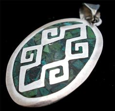 Vintage Sterling Silver Pendant Mosaic Inlay Green Turquoise Mexican Handmade   eBay