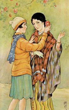 Intersections: Performing the Nation: Magazine Images of Women and Girls in the Illustrations of Takabatake Kashō, Lesbian Art, Gay Art, Japanese Illustration, Illustration Art, Japanese Watercolor, Traditional Japanese Art, Magazine Images, Roman Art, Illustrations And Posters