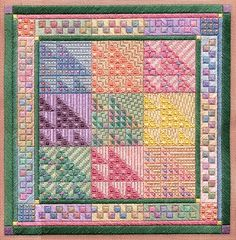 "Color Study: Sawtooth Sampler 9"" x 9"" on 18 ct. canvas Pattern: $12.00 - by Laura J Perin Designs"