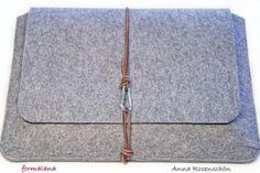 braun Leder grau Filz Notebook Tasche für von MissWoolightly