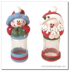 Manualidades Navideñas: frascos de vidrio decorados. Christmas Clay, Christmas Projects, Christmas Time, Holiday, Diy And Crafts, Christmas Crafts, Christmas Decorations, Christmas Ornaments, Recycled Jars