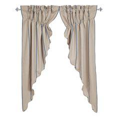 Charlotte Azure Scalloped Prairie Curtain Set of 2 63x36x18