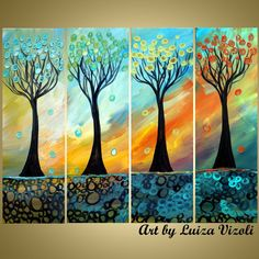 SEASONS 40x30 Original Painting Trees Landscape by LUIZAVIZOLI, $365.00
