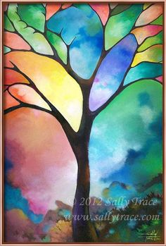 Tree print of my original painting TREE OF LIGHT by sallytrace, $49.00
