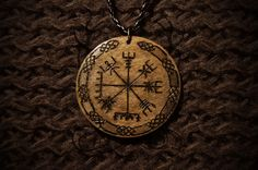(Made by Malin Mellryd) Wooden pendant Vegvísir. Runes Magic. https://www.facebook.com/malin.mellryd  http://instagram.com/malinmellryd