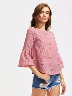 V Cut Tie Back Bell Sleeve Daisy Embroidered Checkered Top -SheIn(Sheinside) Kids Outfits, Casual Outfits, Fashion Outfits, Blouse Patterns, Blouse Designs, Blouse Batik, V Cuts, Muslim Fashion, Sewing Clothes
