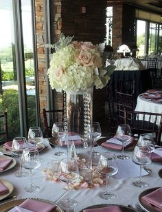 tall wedding centerpieces with bling | Lush, Tall, centerpiece~Blush & Bling wedding~ Florals by~ Kristi www ...